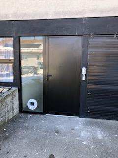 porte d'entrée bicolore avec chatiere